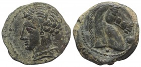 Carthaginian Domain, Sardinia, c. 264-241 BC. Æ (20mm, 4.81g, 7h). Wreathed head of Kore-Tanit l.; pellet below. R/ Head of horse r.; large pellet bef...