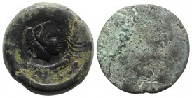 Sicily, Akragas, c. 415-406 BC. Æ Hemilitron (29mm, 16.55g). [Eagle on crayfish]; c/m: head of Herakles r., wearing lion skin, within incuse circle / ...
