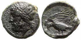 Sicily, Akragas, c. 338-317/287 BC. Æ (16.5mm, 4.81g, 6h). Laureate head of Zeus l. R/ Eagle standing l. on hare. CNS I, 116; SNG ANS 1113-4; HGC 2, 1...