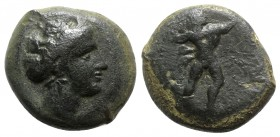 Sicily, Alaisa Archonidea, 339/8-317 BC. Æ (24mm, 13.63g, 9h). Head of female r., wearing sphendone. R/ Herakles advancing r., lion skin draped over a...
