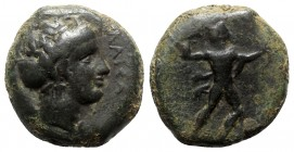 Sicily, Alontion, c. 357-354 BC. Æ (23mm, 13.47g, 6h). Laureate head of Zeus Eleutherios r. R/ Thunderbolt; barley grain to r. Campana 3; CNS II, p. 4...
