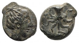 Sicily, Eryx, c. 330-260 BC. Æ (9mm, 1.16g, 12h). Head of female r. R/ Octopus. Campana 55a; CNS I, 24; SNG ANS -; HGC 2, 949 (Motya). Green patina, V...