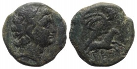 Sicily, Gela, 2nd-1st century BC. Æ Tetras or Trionkion (21mm, 9.38g, 12h). Head of the river-god Gelas r. R/ Warrior sacrificing a ram; H to l. CNS I...