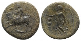 Sicily, Himera, c. 420-415 BC. Æ Hexas (13mm, 1.62g, 3h). Pan, blowing into conch shell and cradling lagobolon in arm, riding goat springing l.; below...