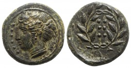 Sicily, Himera, c. 420-407 BC. Æ Hemilitron (17mm, 4.43g, 7h). Head of nymph l.; six pellets before. R/ Six pellets within wreath. CNS I, 35; SNG ANS ...