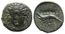 Sicily, Himera, c. 412-409 BC. Æ Hemilitron or Hexonkion (13mm, 2.28g, 9h). Head of female facing slightly l., wearing tainia. R/ Crawfish l.; six pel...