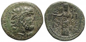 Sicily, Himera as Thermai Himerensis, c. 250-200 BC. Æ (20mm, 4.95g, 12h). Bearded head of Herakles r., wearing lion skin headdress. R/ Turreted femal...