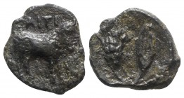Sicily, Iaitos, c. 330-260 BC BC. Æ (11mm, 0.87g, 3h). Bearded man-faced bull advancing r. R/ Grain ear and barleycorn. Campana 2; CNS I, 1; SNG ANS -...
