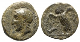 Sicily, Kamarina, c. 410-405 BC. Æ Tetras (14mm, 3.19g, 3h). Head of Athena l., wearing crested Corinthian helmet decorated with a wing; olive spray b...