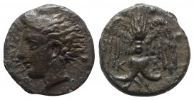 Sicily, Katane, c. 415-404 BC. Æ Tetras or Trionkion (12.5mm, 1.96g, 7h). Horned head of Amenanos l.; ivy-leaf behind. R/ Winged thunderbolt; three pe...