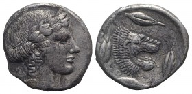 Sicily, Leontinoi, c. 450-440 BC. AR Tetradrachm (25mm, 16.79g, 12h). Laureate head of Apollo r. R/ Head of lion r.; four barley grains around. SNG AN...