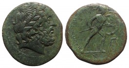 Sicily, Messana, The Mamertinoi, c. 220-200 BC. Æ Pentonkion (27mm, 11.58g, 2h). Laureate head of Zeus r. R/ Warrior advancing r., holding shield and ...