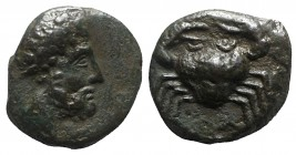 Sicily, Motya, c. 400-397 BC. Æ (11mm, 1.93g, 3h). Bearded head r. R/ Crab. Campana 30B; CNS I, 10; SNG ANS 511; HGC 2, 947. VF