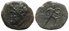 Sicily, Nakona, c. 3rd-2nd century BC. Æ (17mm, 3.06g, 6h). Laureate head of Poseidon l. R/ Warrior advancing r., holding spear and shield. CNS I, -; ...