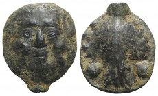 Sicily, Selinos, c. 450-440 BC. Cast Æ Hexas (17mm, 4.92g, 6h). Silenus mask facing. R/ Celery leaf. CNS I, 9; SNG ANS -; HGC 2, 1236. Green patina, V...