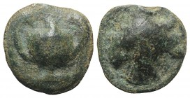 Sicily, Selinos, c. 450-440 BC. Cast Æ Onkia (14mm, 2.54g, 12h). Kantharos; pellet above. R/ Selinon leaf. CNS I, 10; SNG ANS -; HGC 2, 1237. Green pa...