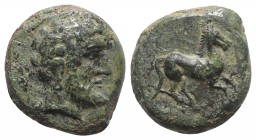 Sicily, Soloi, late 4th - early 3rd century BC. Æ (13.5mm, 3.33g, 6h). Bearded head r. (Melqart?). R/ Horse galloping r. Campana 21; CNS I, 16; SNG AN...