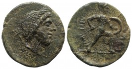 Sicily, Soloi, late 2nd - early 1st century BC. Æ (21mm, 5.66g, 12h). Laureate head of Poseidon r.; trident behind. R/ Nude warrior advancing r., wear...