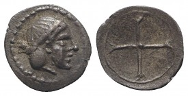 Sicily, Syracuse. Hieron I (478-466 BC). AR Obol (9mm, 0.31g), c. 475-470. Diademed head of Arethusa r. R/ Wheel of four spokes. SNG ANS 116; HGC 2, 1...