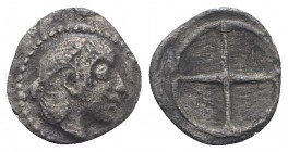 Sicily, Syracuse. Hieron I (478-466 BC). AR Obol (8.5mm, 0.45g), c. 475-470. Diademed head of Arethusa r. R/ Wheel of four spokes. SNG ANS 116; HGC 2,...