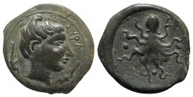 Sicily, Syracuse, c. 435-415 BC. Æ Tetras (16mm, 4.49g, 10h). Head of Arethusa r.; dolphin behind. R/ Octopus; three pellets around. CNS II, 1; SNG AN...