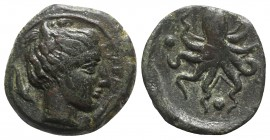 Sicily, Syracuse, c. 435-415 BC. Æ Tetras (16mm, 3.26g, 12h). Head of Arethusa r.; dolphin behind. R/ Octopus; three pellets around. CNS II, 1; SNG AN...