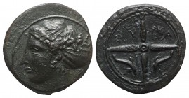 Sicily, Syracuse, c. 415-405 BC. Æ Hemilitron (14.5mm, 3.29g, 9h). Head of Arethusa l., hair in sphendone. R/ Wheel of four spokes; dolphins in lower ...