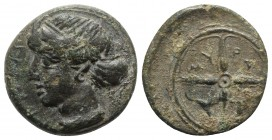 Sicily, Syracuse, c. 415-405 BC. Æ Hemilitron (15mm, 3.32g, 6h). Head of Arethusa l., hair in sphendone. R/ Wheel of four spokes; dolphins in lower qu...