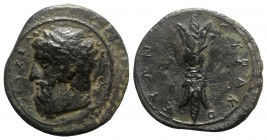 Sicily, Syracuse, c. 344-339/8 BC. Æ (17mm, 4.65g, 7h). Laureate head of Zeus Eleutherios l. R/ Upright thunderbolt. CNS II, 74; SNG ANS 489; HGC 2, 1...