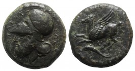 Sicily, Syracuse, c. 344-317 BC. Æ Hemilitron (27mm, 20.11g, 11h). Helmeted and bearded head l. R/ Pegasos flying l. above dolphin l.; Σ between. CNS ...