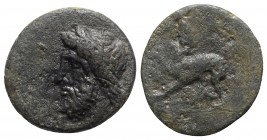 Sicily, Syracuse, c. 344-317 BC. Æ Tetras (15mm, 2.88g, 10h), c. 339/8-334 BC. Bearded and laureate head of Asklepios l. R/ Hound standing l., forepaw...
