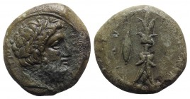 Sicily, Syracuse, c. 339/8-334 BC. Æ Hemidrachm (24mm, 12.52g, 7h). Laureate head of Zeus Eleutherios r. R/ Upright thunderbolt; barley grain to r. CN...