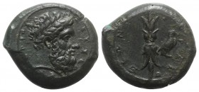Sicily, Syracuse, c. 339/8-334 BC. Æ Hemidrachm (27mm, 15.96g, 6h). Laureate head of Zeus Eleutherios r. R/ Upright thunderbolt; to r., eagle standing...