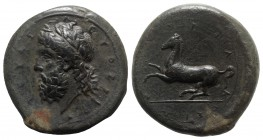 Sicily, Syracuse, c. 339/8-334 BC. Æ Dilitron (28mm, 20.22g, 12h). Laureate head of Zeus Eleutherios l. R/ Horse rearing l. CNS II, 80; SNG ANS 533; H...