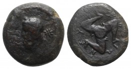 Sicily, Syracuse, c. 339/8-334 BC. Æ Hexas (19mm, 7.46g). Laureate head of Zeus Eleutherios l.; star behind. R/ Triskeles. CNS II, 82; SNG ANS 544; HG...
