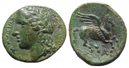 Sicily, Syracuse. Agathokles (317-289 BC). Æ (14mm, 2.36g, 11h). Laureate head of Apollo l. R/ Pegasos flying r.; A below. CNS II, 88 Rl2; SNG ANS -; ...