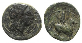 Sicily, Syracuse. Agathokles (317-289 BC). Æ (10mm, 0.90g, 3h). Laureate head of Apollo r. R/ Pegasos springing r. CNS II, 91; HGC 2, 1531. Green pati...
