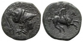 Sicily, Syracuse. Agathokles (317-289 BC). Æ (16mm, 2.92g, 6h), c. 310–309 BC. Helmeted head of Athena r. R/ Horseman riding r. CNS II, 117; SNG ANS 6...
