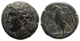 Sicily, Syracuse. Hiketas II (287-278 BC). Æ (24mm, 10.60g, 9h). Laureate head of Zeus Hellanios l. R/ Eagle standing l. on thunderbolt; star to l. CN...