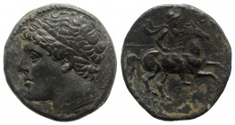 Sicily, Syracuse. Hieron II (275-215 BC). Æ (27mm, 17.66g, 12h), c. 240-215 BC. Diademed head l.; wing behind. R/ Warrior on horseback rearing r., hol...