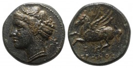 Sicily, Syracuse. Hieron II (275-215 BC). Æ (14mm, 3.33g, 3h), c. 269-240 BC. Female head l., wearing sphendone. R/ Pegasos flying l. CNS II, 202; SNG...