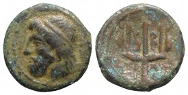 Sicily, Syracuse, 214-212 BC. Æ (13mm, 2.37g, 12h). Head of Zeus l., wearing tainia. R/ Ornate trident head flanked by dolphins. CNS II 208; SNG ANS 1...