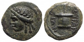 Sicily, Syracuse. Roman rule, after 212 BC. Æ (14mm, 2.39g, 9h). Head of Apollo l. R/ Apex. CNS II, 215; SNG ANS -; HGC 2, 1528. Rare, green patina, V...
