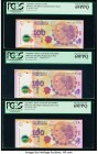 "Argentina Banco Central 100 Pesos ND (2012) Pick 358a (2); 358a* Three Commemorative Issues PCGS Superb Gem New 69PPQ (3). Replacement prefix ""R"" is s..."
