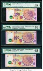 Argentina Banco Central 100 Pesos ND (2012) Pick 358a (2); 358r Three Commemorative Issues PMG Superb Gem Unc 67 EPQ; Gem Uncirculated 66 EPQ; Gem Unc...