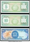 Aruba Banco Central 5; 10 Florin 1986 Pick 1; 2 Choice Crisp Uncirculated; Trinidad and Tobago Central Bank 100 Dollars ND (1985) Pick 40a Choice Cris...