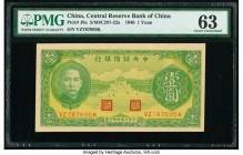 China Central Reserve Bank of China 1 Yuan 1940 Pick J8a S/M#C297-22a PMG Choice Uncirculated 63. Toned.  HID09801242017