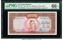 Iran Bank Markazi 1000 Rials ND (1971-73) Pick 94c PMG Gem Uncirculated 66 EPQ.   HID09801242017