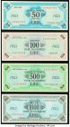 Italy Allied Military Currency 50; 100; 500; 1,000 Lire 1943A Pick M20a; M21b; M22a; M23a About Uncirculated or Better.   HID09801242017