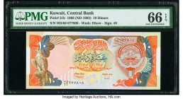 Kuwait Central Bank of Kuwait 10 Dinars 1968 (ND 1992) Pick 21b PMG Gem Uncirculated 66 EPQ.   HID09801242017
